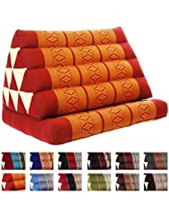 Coussin Thai - Pouf - Triangulaire - Capoc/coton - Avec assise 1 plis - Koh Phangan - Rouge/orange