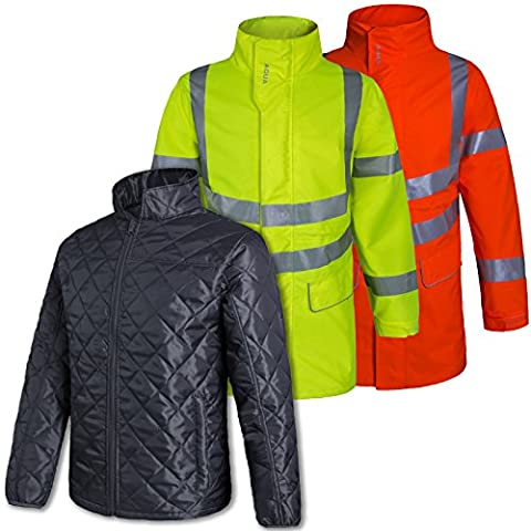 AQUA Waterproof & Breathable Parka Jacket with Lightweight Inner Padded Jacket with Interactive Zip. Hi Vis Fluorescent Yellow. Size 2XL - Comes with Tigerbox Antibacterial Pen.