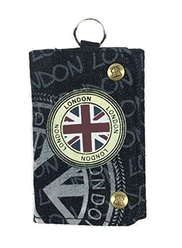 Geldbörse Geldbeutel Canvas Motiv LONDON Portemonnaie Klettverschluss ✅ (BE836A-LONDON/schwarz-grau) - London Damen Portemonnaie
