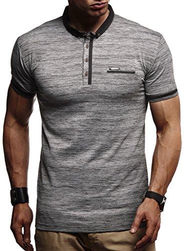 LEIF NELSON Herren Sommer T-Shirt Polo Kragen Slim Fit Baumwolle-Anteil | Basic schwarzes Männer Poloshirts Longsleeve-Sweatshirt Kurzarm | Weißes Kurzarmshirts lang | LN1280 Anthrazit Medium
