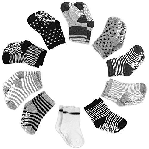 Yissvic Baby Socken, Anti Rutsch Babysocken 10 Paar Anti Slip Stretch Socken für 0-3 Jahre Baby Mädchen und Jungen Verpackung ()