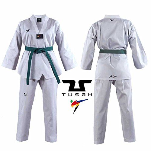 Tusah Kids White Collar Taekwondo Dobok - WTF Approved