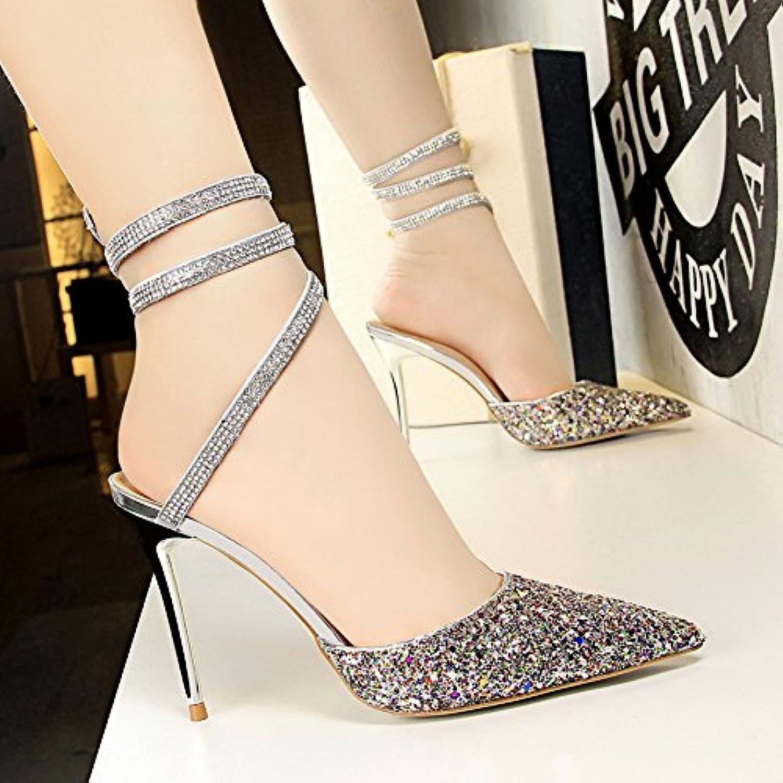 LGK&FA Zapatos De Tacón Alto Zapatos De Mujer Con Tacones Altos Y Dientes Poco Profundos Brillantes Lentejuelas...