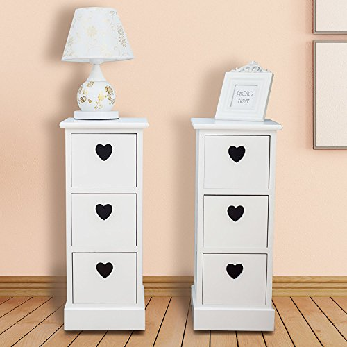 Buy uenjoy pair of bedside tables white chest of 3 drawers for Buy white bedside table