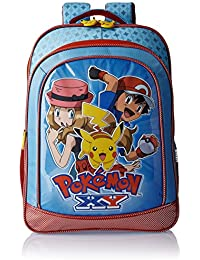 Pokemon Polyester 18 Inch Blue and Red Children's Backpack (Age group :8-12 yrs)