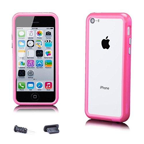 Apple iPhone 5C | iCues Pare-chocs avec des boutons en aluminium Violet | [protecteur d'écran, y compris] cas Frame cas de couverture Coque Housse Sac Étui Case Cover rose bonbon