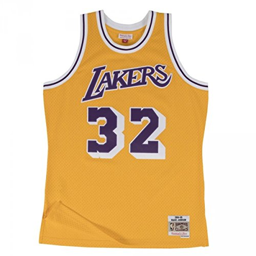 Mitchell & Ness - Maillot NBA swingman Magic Johnson Los Angeles Lakers Hardwood Classics Mitchell & ness jaune taille - XXL