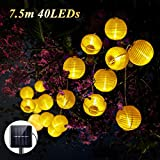 Solar Lichterkette,SOLMORE 40 LEDs 7.5m Warmweiß led lichterkette Lampion Solarbetrieben aussen Lichterkette Solar LED Laternen String Lichterkette außen Solar Außenbeleuchtung für Garten Party Weihnachten Halloween Warmweiß