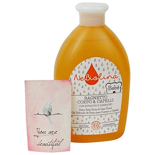 NEBIOLINA - Bagnetto Corpo e Capelli - Detergente ecobio extra delicato per il bebè, con aroma di biscotto