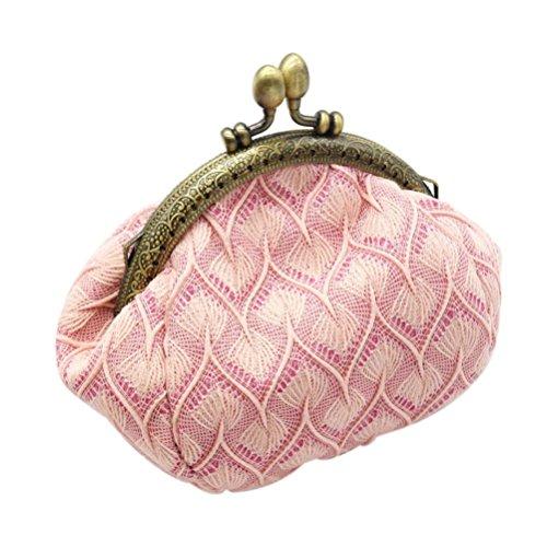 Sac à main Femme ,Reaso la demoiselle Rétro Petit portefeuille (Rose)
