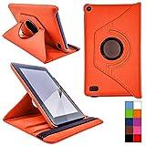COOVY® Étui pour Amazon Kindle Fire HD 7 (Model 2015) Coque de Protection Rotation 360° Smart Housse Cover Case Stand | Orange