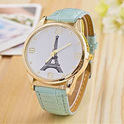 2015 New Style High Quality Vintage Fashion Cowboy Leather Strap Watch For Women Eiffel Tower Wristwatch Quartz Dress Watch