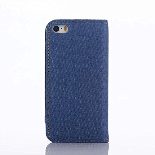 inShang Coque pour iPhone SE Cell Phone Housse de Protection Etui pour iPhone SE, SUPER PU Cuir case de premiere qualite Denim light blue