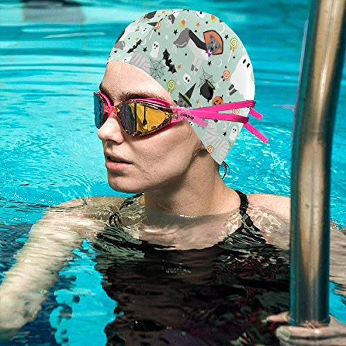 Swim Cap,Pitbull Halloween Costume Dog Vampire Ghost Mummy Light Thicker Design Waterproof Silicone Swimming Cap for Adult Woman and Men