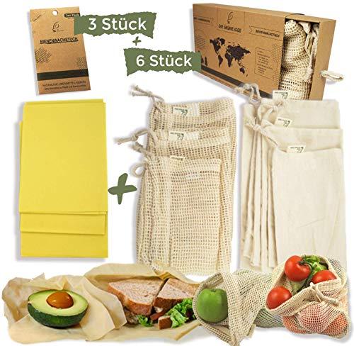 Die Grüne Idee Obst- und Gemüsebeutel (6 Stück) UND Bienenwachstücher (3 Stück) Set - Wiederverwendbare Einkaufsnetze aus Baumwolle mit Brotbeutel und Gewichtsangabe und Wachspapier für Lebensmittel