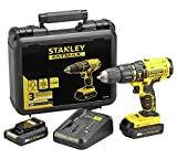 18v CORDLESS LITHIUM STANLEY FATMAX COMBINATION HAMMER/DRILL DRIVER COMPETE KIT x2 LITHIUM BATTERYS PLUS FAST CHARGER by Stanley