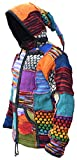 Little Kathmandu Wolle Fleece Gefüttert Pixie Lange Hut Patchwork Jacke X-Large