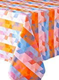 Garnier Thiebaut Mille Cubes Tablecloth, 71 by 71 , Dusk, 100% two-ply twisted cotton, Made in France