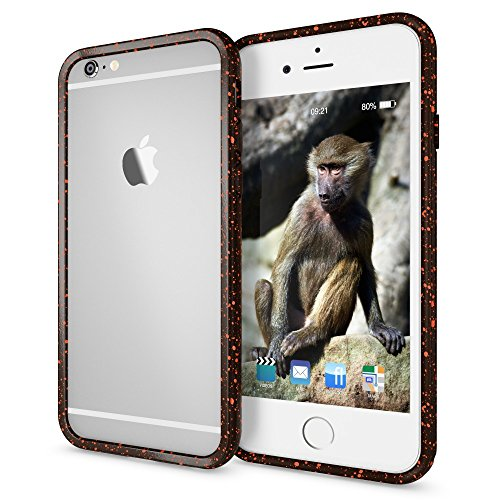 iPhone 6 6S Sternenhimmel Bumper von NICA, Dünner Rutschfester 3D Silikon Rahmen Soft & Ultra-Slim Protector, Stoßfester Smart-Phone Schutz-Rand Gel Gummi Rugged für Apple iPhone 6S 6, Farbe:Blau Orange