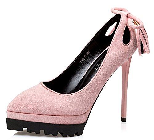 Aisun Damen Spitz Zehen Cut Out Schleife Low Top Quaste Stiletto Pumps Mit Plateau Pink