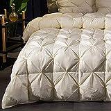 GWFVA Weiße Gänsedaunendecke mit doppelter Bettdecke, hypoallergene Bettwäsche, leichtes, reines Baumwollgewebe, GelbB-200X230cm-3kg
