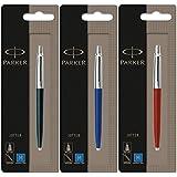 Parker Jotter 3couleurs 1Noir + 1Bleu + 1stylo bille Rouge Encre bleue