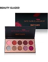 BEAUTY GLAZED Professionnel 10 Couleurs Beaute Glitter Palette de Ombre a Paupiere Eyeshadow Shimmer Fard a Paupiere...