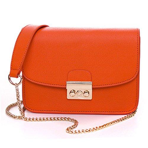 KYOKIM PU Leder Ms Europa Solide Kreuz Muster Modekette Schulter Diagonal Handtasche 28 2 Unzen (oz),Orange-AllCode