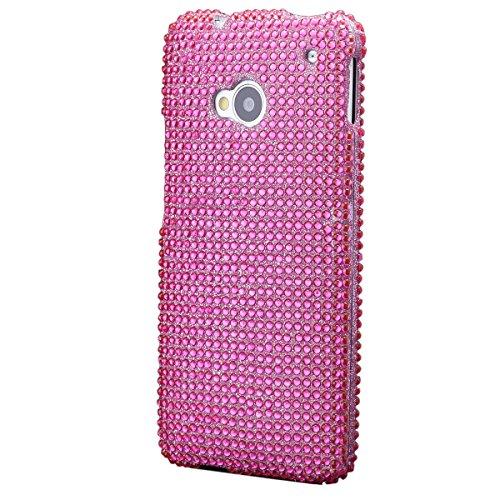 iCues HTC One M7 2 Part Strass Case Pink | [Display Schutzfolie Inklusive] Strass Glitzer Glitter Luxus Bling Damen Frauen Mädchen Schutzhülle Hülle Cover Schutz