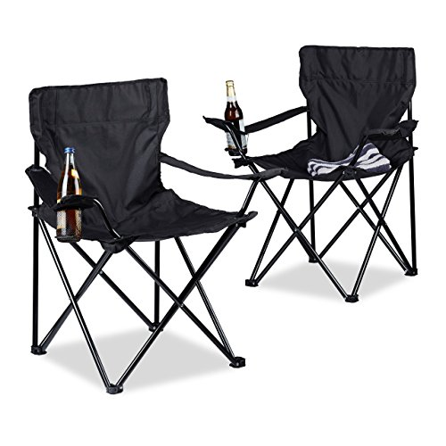 Relaxdays 10020932_46 Chaise de Camping Mixte Adulte, Noir