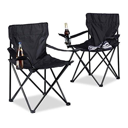 Relaxdays Campingstuhl 2er-Set, klappbar, Armlehnen, Getränkehalter, Picknickstuhl, Outdoor, HBT: 82 x 78 x 50 cm, schwarz