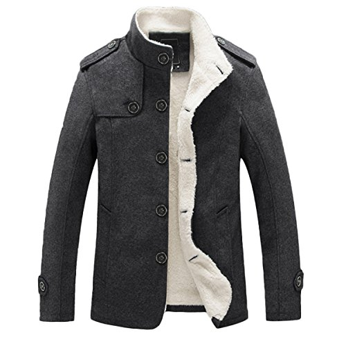 Mirecoo Mens Smart Fit Stand Collar Faux Wool Blend Fleece Borg Sherpa Lined Coat Buttoned Winter Short Jacket