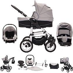 Bebebi Paris - Carrito de bebé 3en 1, neumáticos de aire gris Concord