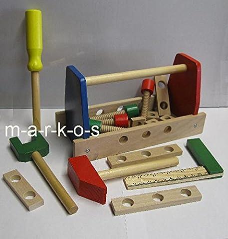 Kinder Werkzeugkasten, Holz Spielzeug 17 Teile, Holz Werkzeug für Kinder (LHS)