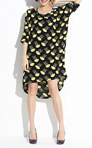 ELLAZHU Femme Robe Mousseline De Soie Lâche Imprimé Seiche Irrégulière Découpé Taille Unique SZ179 Multicolore