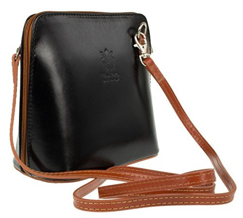 H&G Vera Pelle Trapezoid Shaped Mini Italian Real Leather Cross-Body Handbag (Purple) Black & Tan