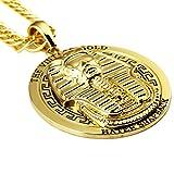 Mens 18 K Gold überzogene Weinlese -Ägypten-Charme-Halskette Pharao King Gold Ketten & Anhänger Hip Hop Schmuck