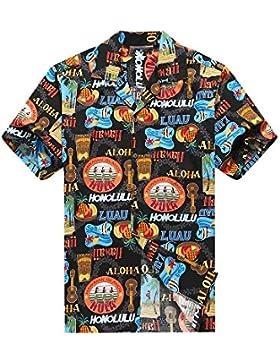 Hecho en Hawai de los hombres Camisa hawaiana Camisa de la hawaiana Hula Girls Ukulele Tiki Pescado en Negro