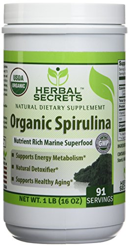 Herbal Secrets Organic Spirulina Powder 16 oz Boosts Energy and Supports Immunity