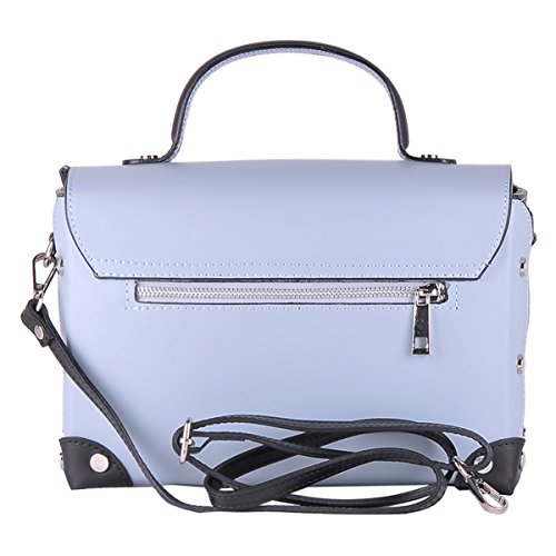BORDERLINE da Borsa BARBARA Vera Pelle in 100 Italy Celeste Made in Donna TXrwTp