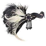 YWLINK Gatsby KostüM Accessoires Klassisch Cocktail Tea KopfstüCk Flapper Stirnband Tanzparty Party Retro Headwear FüR MäDchen Und Damen 1920er Jahre ZubehöR Stirnband