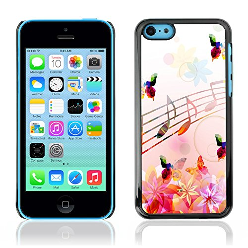 Graphic4You Blue Butterfly And Flowers Design Harte Hülle Case Tasche Schutzhülle für Apple iPhone 5C Design #12