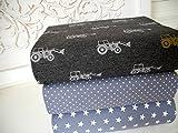 Qjutie Lottashaus Jersey no140 Stoffpaket 3 Stück 50x70cm Traktor Fahrzeug Junge Grau Tupfen Sterne Baumwolljersey Kinder Kleidung Stoffe