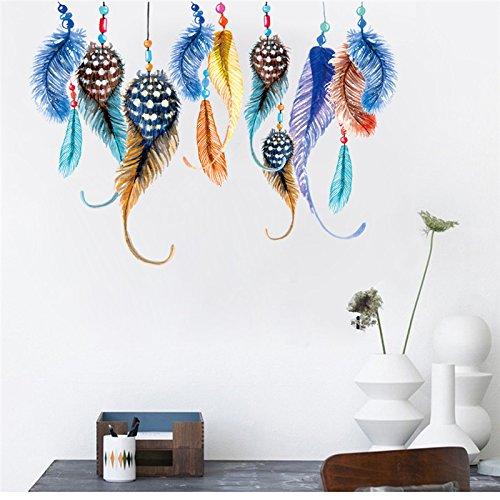 tische federn wandaufkleber für schlafzimmer wohnkultur indien stil wandbild kunst pvc wandtattoo ()