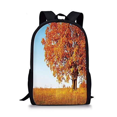 School Bags Fall Decor,Lonely Ancient Oak Tree Grass Bushes Field Serene Rural Scenery,Orange Yellow Light Blue for Boys&Girls Mens Sport Daypack -