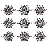 Schmuckverbinder PandaHall Elite 10pcs tibetische Silber Links, bleifrei und cadmiumfrei und nickelfrei, Blume, Antik Silber, 40x28x2.5mm, Bohrung: 2.5mm