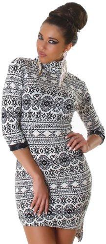 Jela London Damen Kleid elegant mit Muster, creme Größe (Sexy Disco Kleider)