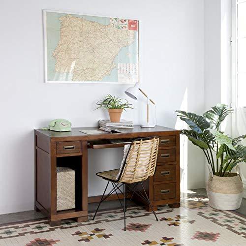Kenia Table Bureau - Bois - 130x60x80 cm - Couleur Teck