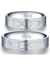 Infinite U Moda Símbolo De Infinito Corazón grabado plata de ley 925circonita cúbica pareja/los amantes de los de banda anillo Juego de Promesa Anillo de compromiso de boda, tamaño de anillo j-u