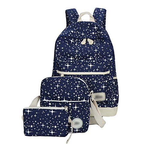 Sentao Tela Zaino Scuola Backpack Casual Donna Zaini Vintage Studenti Borse + Sacchetto di spalla / Messenger Borse + Portafoglio 3PCS set Blu scuro